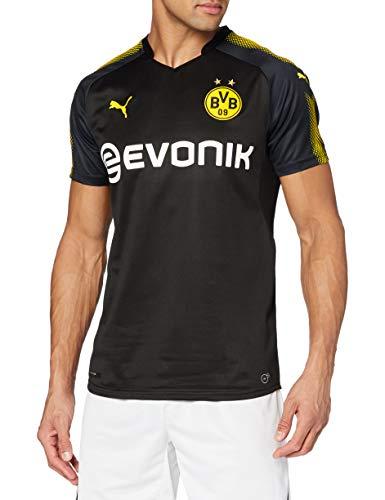 PUMA Herren BVB Away Replica Shirt with Sponsor Logo T Black-Cyber Yellow, S