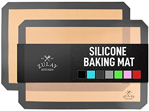 Zulay Kitchen Silicone Baking Mat - Reusable Nonstick Silicone Baking Sheet - Half Sheet Silicone Mats For Baking - Pack of 2 - Dark Gray