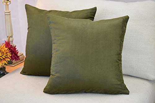 MoonRest (Set of 2) Faux Suede Polyester Microfiber Decorative Throw Pillow Case Cushion Cover with Hidden Zipper for Couch Bed Sofa, Solid Color Soft Pillowcases (18' x 18', Olive)