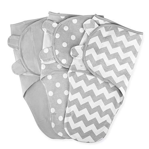 Comfy Cubs manta para bebé niña niño fácil ajustable 3 unidades saco de dormir bebé recién nacido (gris, grande)