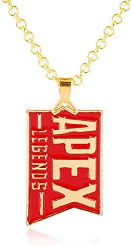 ZJJLWL Co.,ltd Collar Nuevo Juego Joyas Apex Legends Llavero Colgante de Oro Esmalte Rojo Collar de Metal Bolsa de Coche Llavero Llaveros Hombres Mujeres Regalos