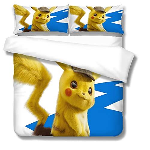 Itscominghome - Juego de cama de matrimonio con funda nórdica de Pikachu estampada en 3D,2 fundas de almohada, 100% microfibra (Pikachu 4,140 x 200 cm)