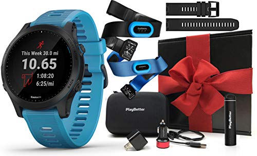 Garmin Forerunner 945 (Tri-Bundle) Running GPS Watch Gift Box | +Extra Band, Chest HRM-Tri & HRM-Swim, PlayBetter Screen Protectors, USB Adapters & Protective Case | Prepacked with Bow & Crinkle Paper