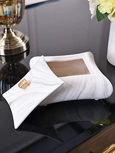 MLOZS Cenicero Cenicero for Cubierta con el patrón de mármol Tapa Luz de Lujo de cerámica con Personalidad Cenizas Volantes cenicero Creativo Moderno de la Oficina Caja de Almacenamiento