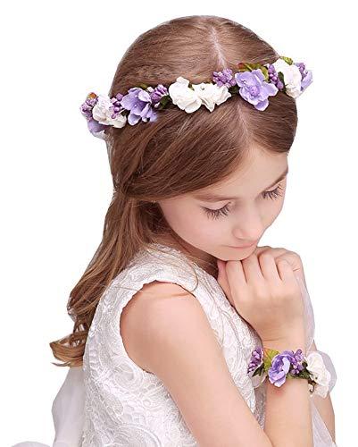 Flairs New York Flower Crown Headpiece Headband Corsages Bracelet Set (Lavender Purple/Pearl White)