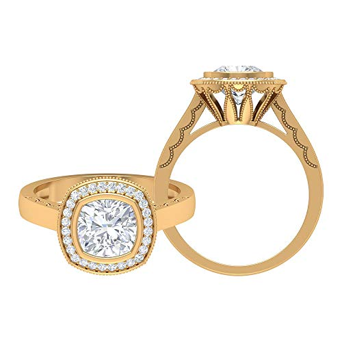 D-VSSI 1.67 CT Moissanite Halo Rings, Solitaire Engagement Rings, Unique Bridal Wedding Rings Set, Classic Anniversary Rings, Antique RingsHalo Engage, 14K Yellow Gold, Size:UK W1/2