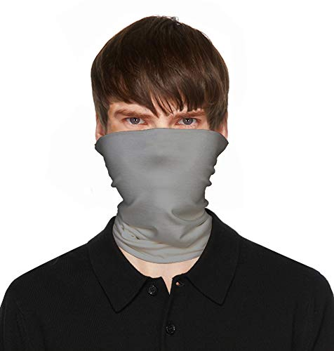 Mens Bandanas Neck Gaiter Face Mask Made in USA for Dust Outdoors Sports-Light Gray,One Size