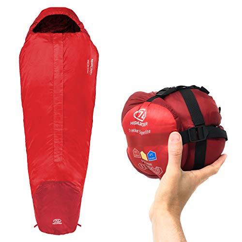 Highlander Trekker Superlite 1-2 Season Lightweight Sleeping Bag, Ultralite Backpacking Travel Mummy Bag (red)
