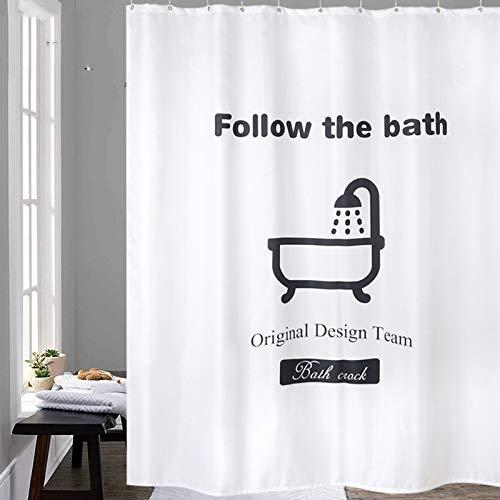 XTUK Home Decor - Tenda da doccia in poliestere in stile nordico, impermeabile e spessa, bianco e nero, W80*H200CM