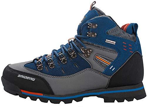 Yaer Botas de Montaña para Hombres, Impermeable Trekking Zapatos para Caminar Botines Al Aire Libre Gris Azul 46 EU