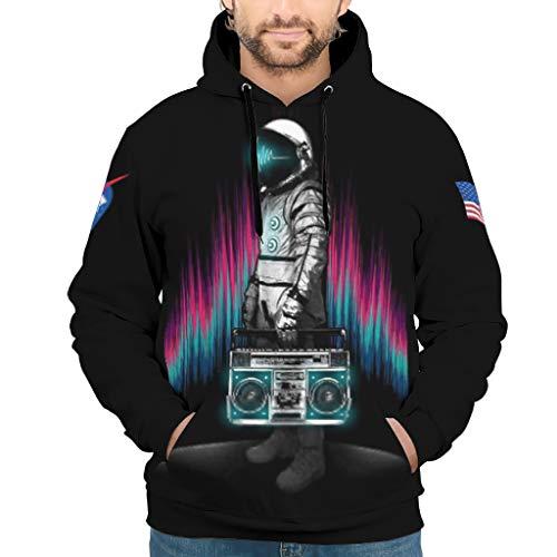 DOGCATPIG Sudadera con capucha de manga larga con cordón para amantes de la música, astronauta retro, arte vintage, sudadera con capucha para hombre, color blanco