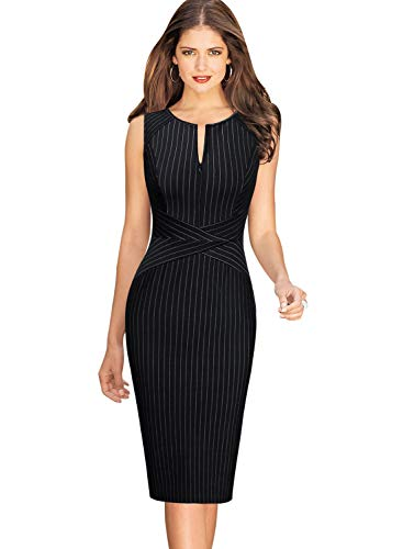 VFSHOW Womens Elegant Black and White Striped Cocktail Party Slim Zipper up Work Business Office Sheath Dress 2619 BLK L