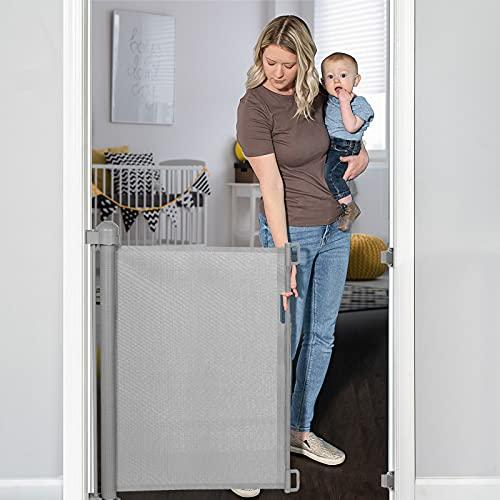 YOOFOR Barrière de Sécurité Escalier Rétractable pour Bébés et Chiens, 0-140 cm, 85 cm de Haut, Barrière Extensible Opération à Une Main, Barrière Escalier pour les Escaliers/Portes/Couloirs, Gris