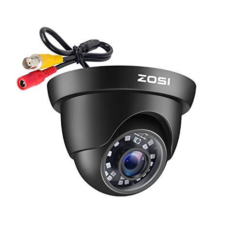 ZOSI CCTV 1080P 2MP 4-in-1 CVBS/AHD/CVI/TVI Video Überwachungskamera Außen Dome Kamera 3.6mm Linse 20M IR Nachtsicht mit OSD, Schwarz