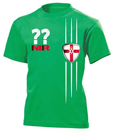 Nordirland Northern Ireland Wunsch Zahl Fanshirt Fussball Fußball Trikot Look Jersey Kinder Kids Unisex t Shirt Tshirt t-Shirt Fan Fanartikel Outfit Bekleidung Oberteil Hemd Artikel