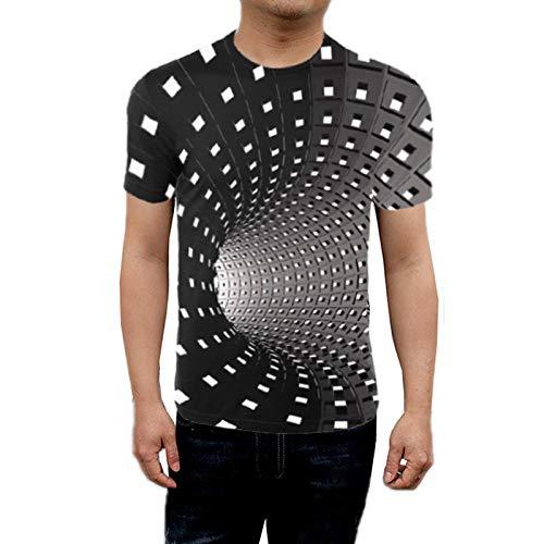Halllo Men Women Short Sleeve T-Shirt 3D Swirl Print Optical Illusion Hypnosis Tee Tops