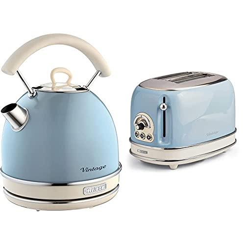 Ariete 155 Toaster mit 2 Schlitzen Vintage Céleste & 2877 Kabelloser Wasserkocher Vintage, 1,7 L, 2200 W, blau, Rostfreier Stahl