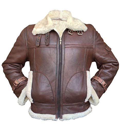 Mens B3 RAF Aviator Pilot Sheepskin Bomber Flying Fur Shearling Brown Leather Jacket