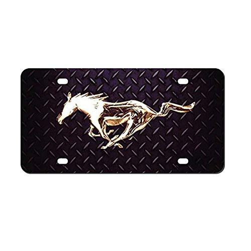MEVZKTN Mustang Horse Diamond Plate License Plate Frame, Novelty Car Tag Frame