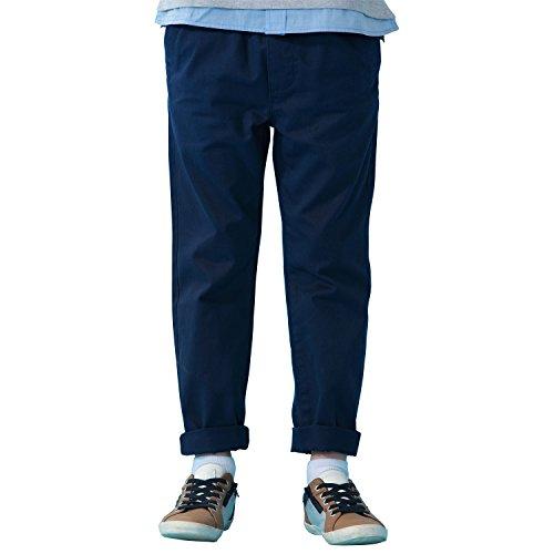 Leo&Lily Boys' Kids' 100% Cotton Twill Elastic Waist Regular Fit Pants Trousers (Navy, 14)