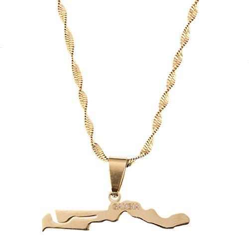 BR Gold Jewelry Halskette mit Anhänger Gambia-Karte, Goldfarben, Geschenk