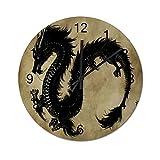 NANITHG Madera Reloj de Pared,La Tinta Negra y Lavado del dragón Chino majestuoso y divino,decoración de paredsin tictac,Utilizado en Sala de Estar/Dormitorio/Cocina/Oficina 34cm