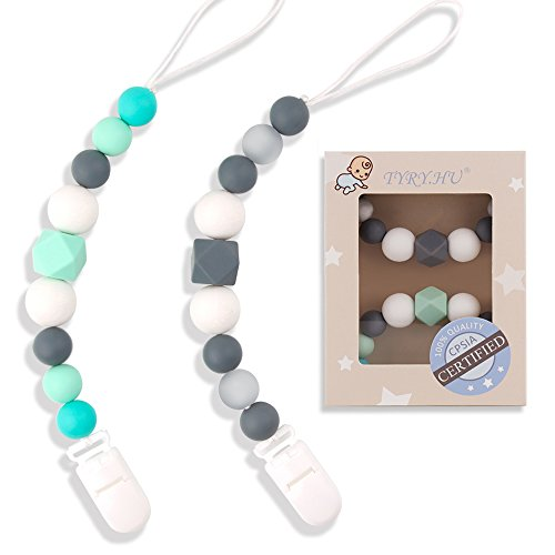 Zhangyo Dummy Clips Baby Boys Girls Chupete Chain Silicona Dentici/ón Relief Toys Beads Soothie Holder Clips Baby Shower Gift