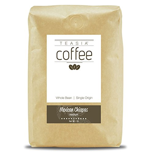 Teasia Coffee, Mexican Chiapas, Single Origin Fair Trade Certified, Medium Roast, Whole Bean, 2-Pound Bag