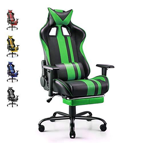 Soontrans Silla Gamer Ergonomica Silla Gaming Oficina Racing Sillon Gamer Despacho Profesional, con Reposapies, Soporte Lumbar Reposacabezas, Altura Ajustable Reposabrazos (Verde)