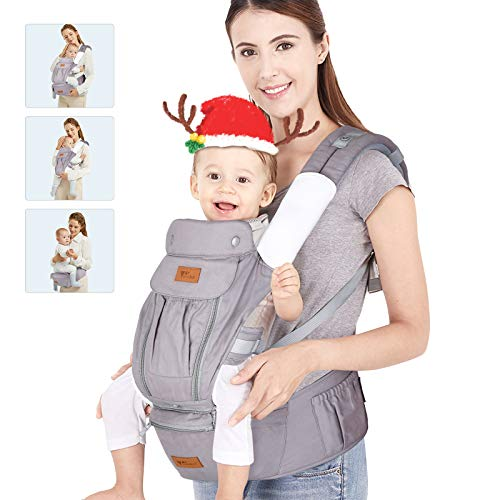 9 in 1 Baby Carrier- Amzdeal Ergonomic Baby Carrier with Hip Seat, Adjustable Baby Backpack Carrier for Newborn to Toddler(3-36 Months), Perfect for Shopping Hiking Travel