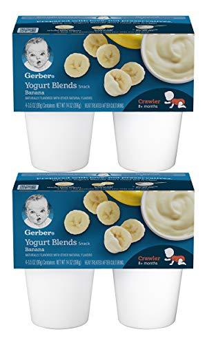 Gerber Yogurt Blends Snack, Banana, 4-3.5 OZ Containers/Pack (Pack of 2)