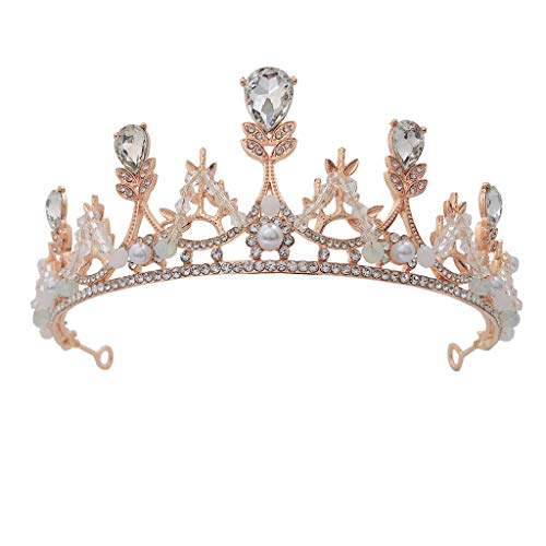 Niumanery Crown Rhinestone Crystal Tiaras for Costume Party Hair Accessories with Gemstone
