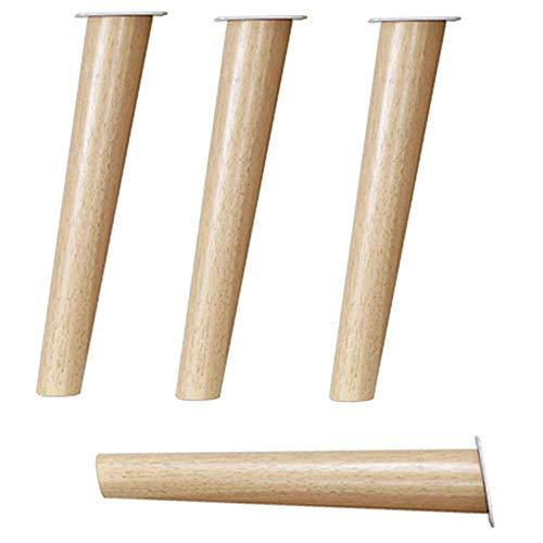 Patas de muebles, patas y tiempos de muebles de madera maciza;4, Diy Color Madera Sofá Soporte Pie Patas de mesa Mesa de centro Mesa de TV Pie Cono inclinado Accesorios de cama aumentados (12,2-48,6