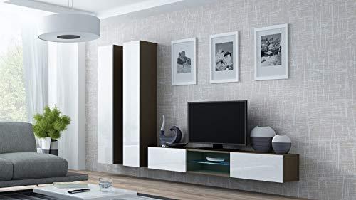 Jadella woonwand 'Vigo Glass III ' glazen vitrine hangend hoogglans mat Latte mat/wit hoogglans
