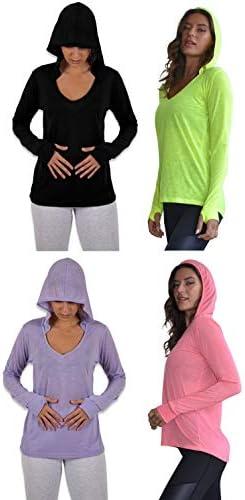 Sexy Basics Women s 4 Pack Flowy Slub Burnout Long Sleeve Hoodie V Neck Shirt with Thumb Hole product image