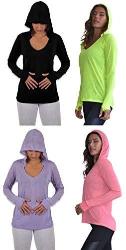 Sexy Basics Women's 4 Pack Flowy Slub Burnout Long Sleeve Hoodie V Neck Shirt with Thumb Hole/Light & Active Tops (4 Pack- Black/Pink/Lavender/Yellow, Medium)