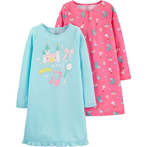 Carter's Girls' 4-14 2-Pack Heart Printed Gowns (12-14, Fairytale/Dream Queen)