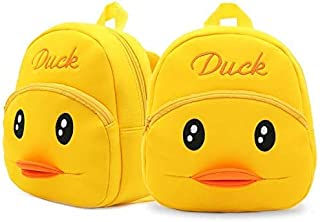 Premium Quality Soft Yellow Duck Velvet Plush Bag with 2 Compartment for Kids