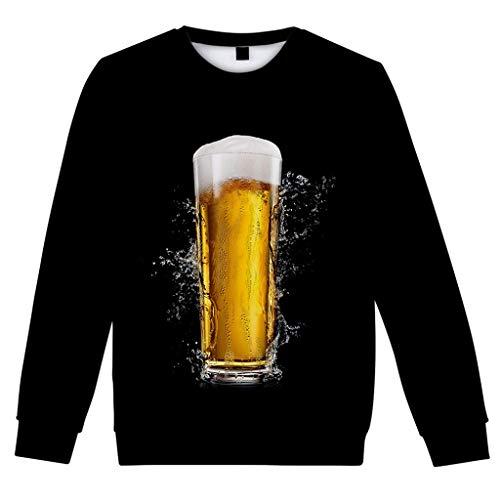 Malloom-Bekleidung Lässige 3D Bier Langarm Beiläufiges Langes Hülsen Bier Festival Neues Drucken O Ansatz Hemd Der Art 3D