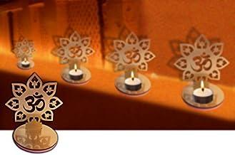 4 Pc Set Om Shape Diwali Shadow Diya. Deepawali Traditional Decorative Diya in Om Shape for Home/Office.Religious Tea Ligh...