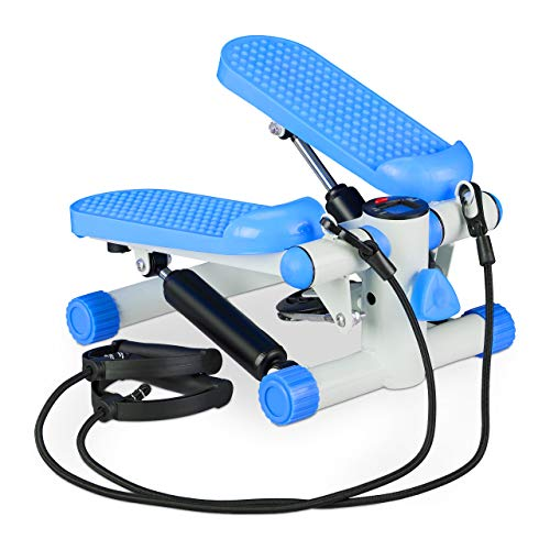 Relaxdays 2X Stepper, Mini Step con 2 Corde Elastiche & Conta Passi, Attrezzi Fitness Training Casa, Gambe & Braccia, Blu Unisex Adulto, Set da 1 pz