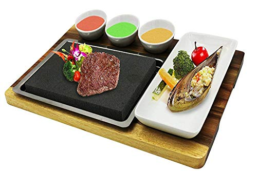 Fecihor Cooking Stones Set, Stainless Steel Platter, Ceramic Sauce Bowls, Ceramic Side Dish, Bamboo Serving Tray, Steak Grilling Stones for Table Top Cooking(7.87''x 5.91'' x 0.78'')