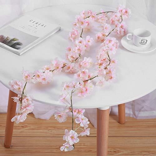 THETHO 4 Stücke 1.8 m künstliche Kirschblüten Girlanden, gefälschte Hängende Kirsch Blumen, Fake Kirschblumenkranz für Dekoration der Hochzeit, Party, Garten, Bogen, Wand