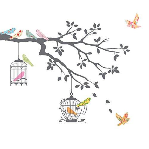 DECOWALL DW-1510 Pájaros en la Rama de un Árbol con Jaulas para Pájaros (Gris) Vinilo Pegatinas Decorativas Adhesiva Pared Dormitorio Saln Guardera Habitaci Infantiles Nios Bebs