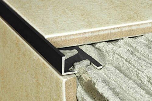 1 Stück | Rand Fliesenleiste | Alu | rostfrei | Effector | 2000x20x10mm | A51 | schwarz