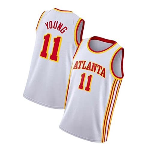 ZMQO Háwks 11# YÓUNG BALKETBALL Jerseys para Hombres y Mujeres, Bordados, Malla de Secado rápido, S-XXL White-XXL