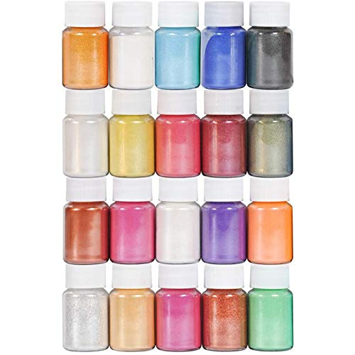 Mica Powder - 20 Colors Pigment Supply Pearl for Makeup/Lip Gloss Coloring/Cosmetic/Eyeshadow/Bath Bomb/Soap Making/Epoxy Resin Dye/Colorant DIY Craft (0.35oz Each)