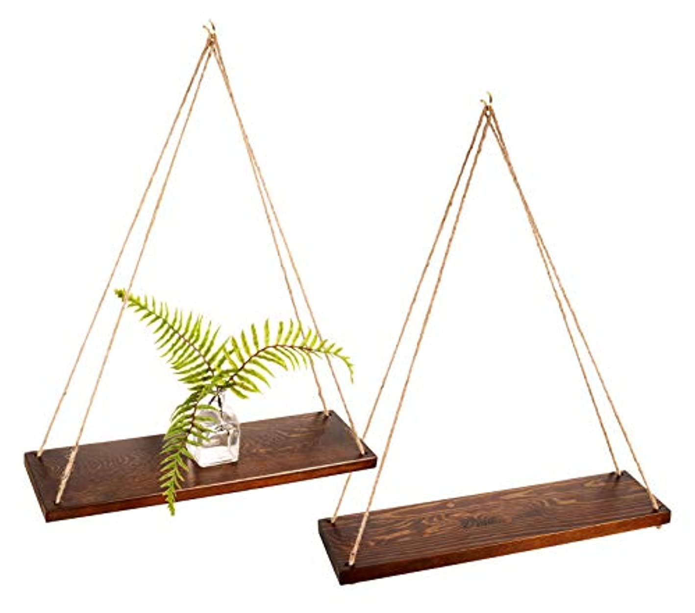 """Bleecker Station Rustic Style Hanging Swing Rope Floating Shelves for Wall, Solid Wood, Farmhouse Shelf, 17"""", Walnut Color"""