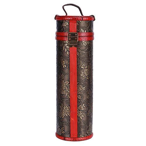 Caja de vino de madera retro de una sola botella, caja de almacenamiento de vino de madera redonda retro, caja de almacenamiento de vino tinto de madera vintage portátil, decoración de caja de regalo
