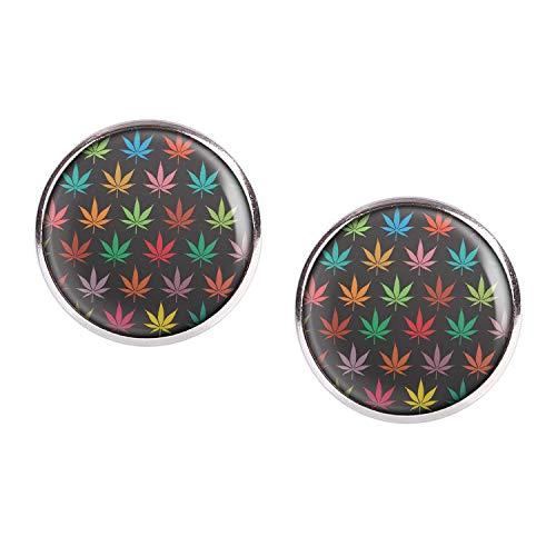 Mylery oorstekers paar met motief Weed Marihuana Gras plant hennepblad patroon zilver verschillende maten